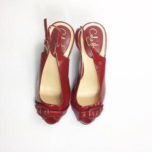 Cole Haan Nike Red Patent Peep Toe Slingback Heels